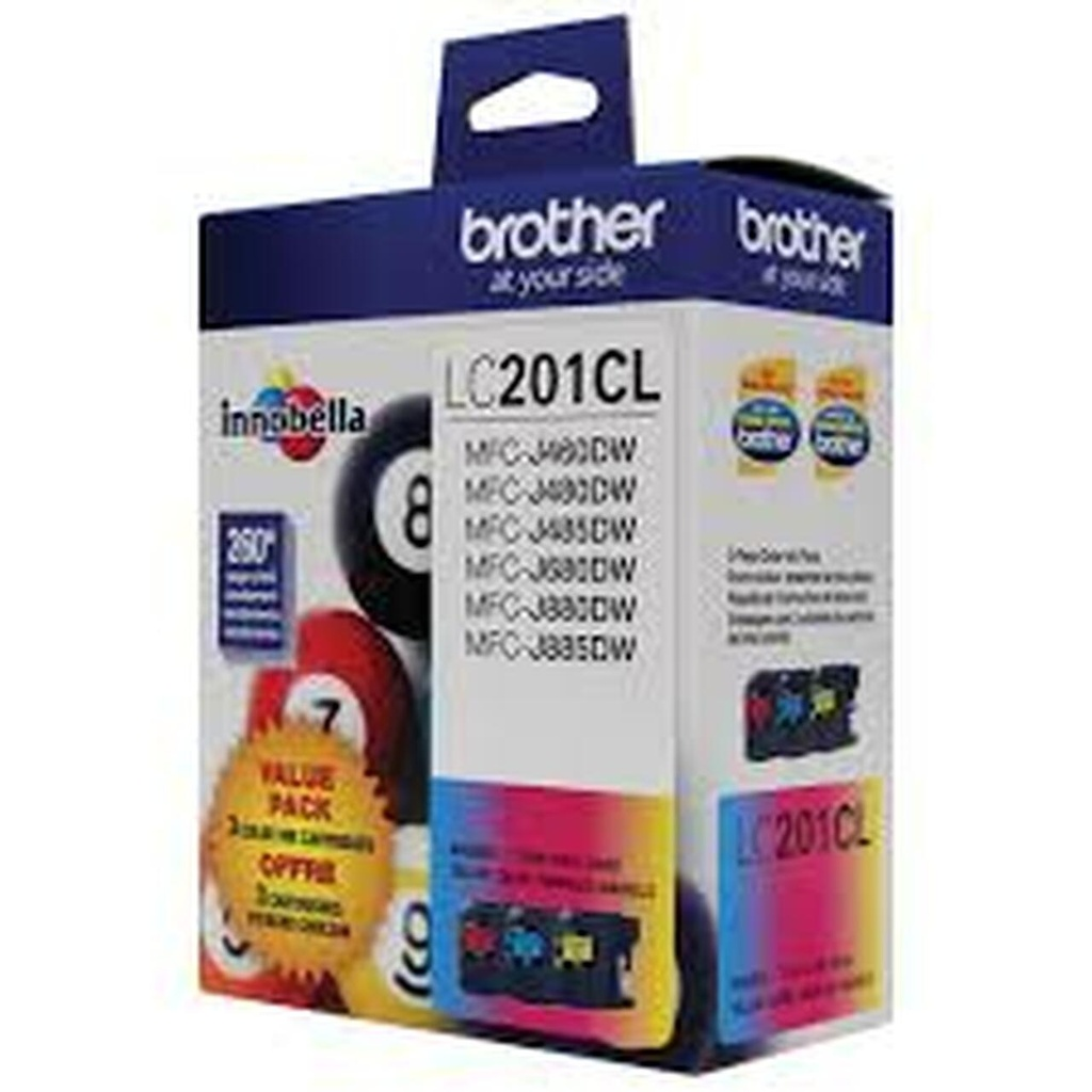 Brother LC201 Ink Cartridge - Colour 3 Pack